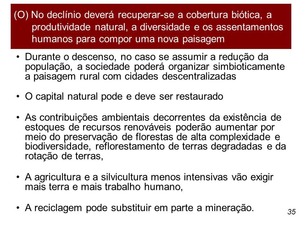 35 Durante o descenso, no caso se assumir a redução da população, a sociedade poderá organizar simbioticamente a paisagem rural com cidades descentral