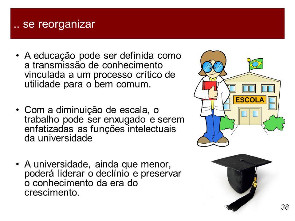 38 A educação pode ser definida como a transmissão de conhecimento vinculada a um processo crítico de utilidade para o bem comum. Com a diminuição de