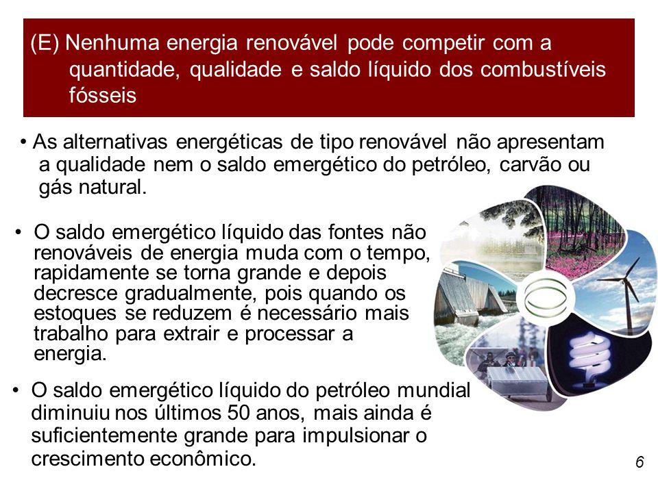 6 As alternativas energéticas de tipo renovável não apresentam a qualidade nem o saldo emergético do petróleo, carvão ou gás natural. (E) Nenhuma ener