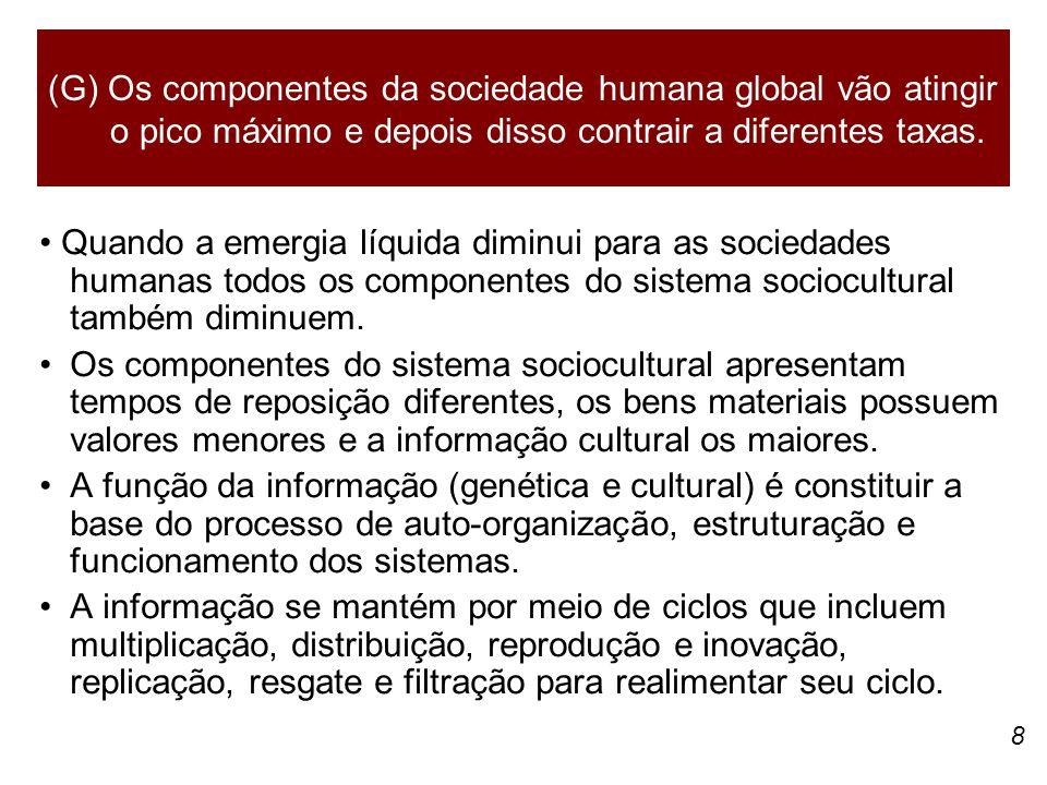 8 Quando a emergia líquida diminui para as sociedades humanas todos os componentes do sistema sociocultural também diminuem. Os componentes do sistema