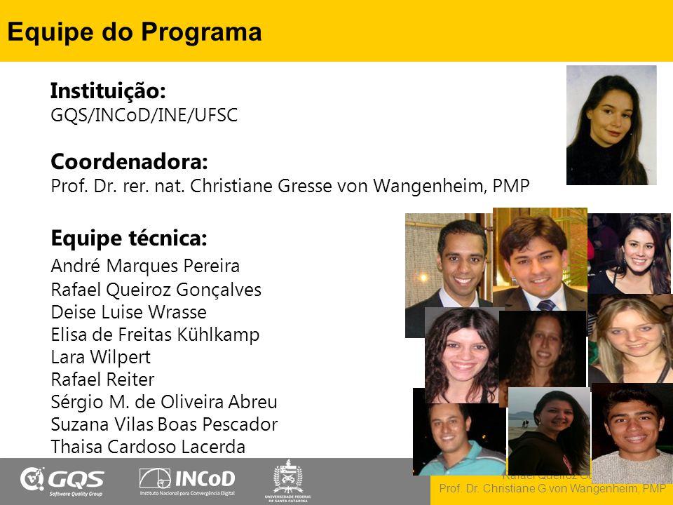 Rafael Queiroz Gonçalves, M.Sc. Prof. Dr. Christiane G.von Wangenheim, PMP Equipe do Programa Instituição: GQS/INCoD/INE/UFSC Coordenadora: Prof. Dr.