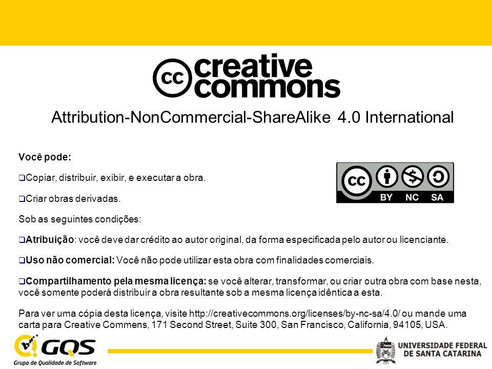Attribution-NonCommercial-ShareAlike 4.0 International Você pode:  Copiar, distribuir, exibir, e executar a obra.  Criar obras derivadas. Sob as seg