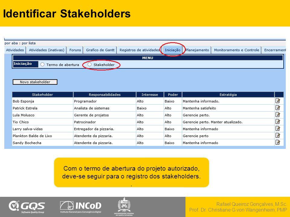 Rafael Queiroz Gonçalves, M.Sc. Prof. Dr. Christiane G.von Wangenheim, PMP Identificar Stakeholders Com o termo de abertura do projeto autorizado, dev