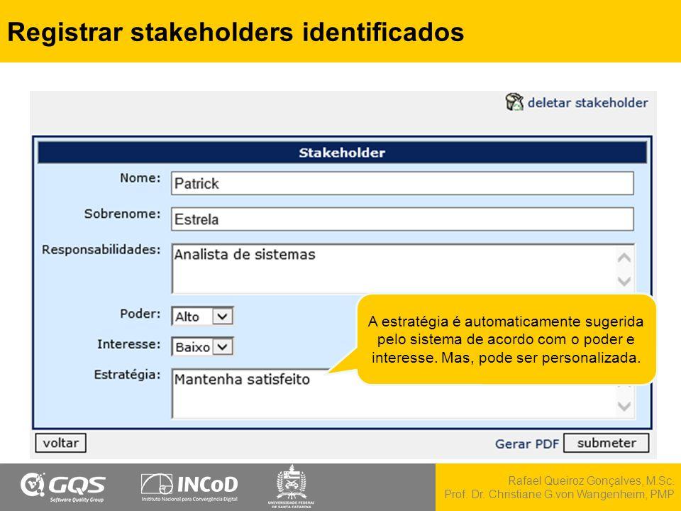 Rafael Queiroz Gonçalves, M.Sc. Prof. Dr. Christiane G.von Wangenheim, PMP Registrar stakeholders identificados A estratégia é automaticamente sugerid