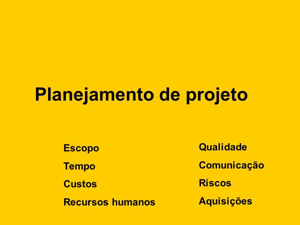 Planejamento de projeto Escopo Tempo Custos Recursos humanos Qualidade Comunicação Riscos Aquisições