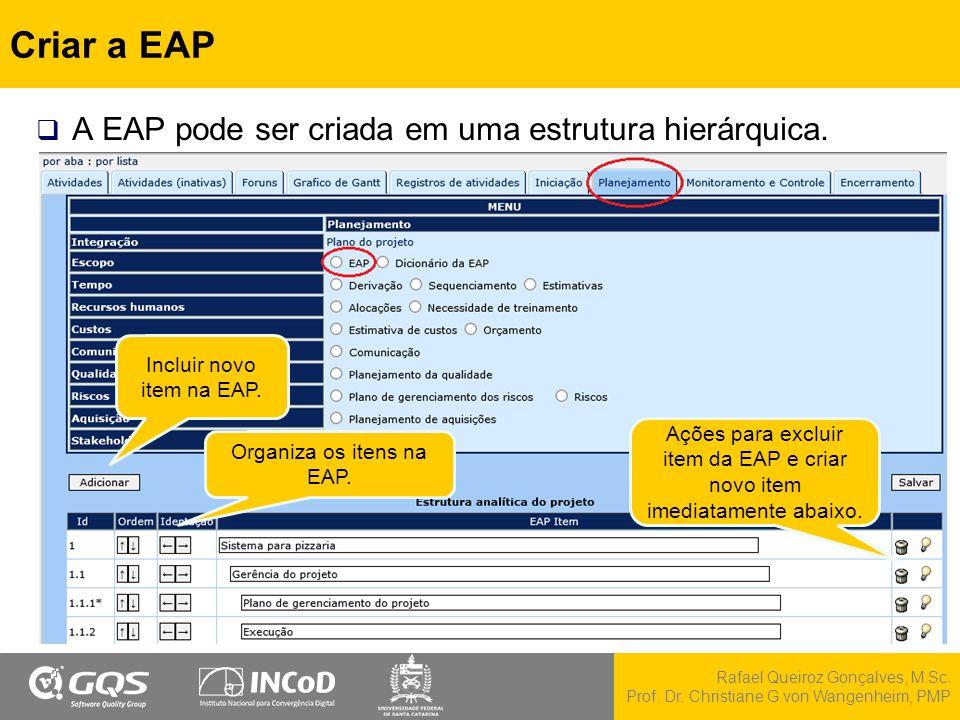 Rafael Queiroz Gonçalves, M.Sc. Prof. Dr. Christiane G.von Wangenheim, PMP Criar a EAP  A EAP pode ser criada em uma estrutura hierárquica. Incluir n