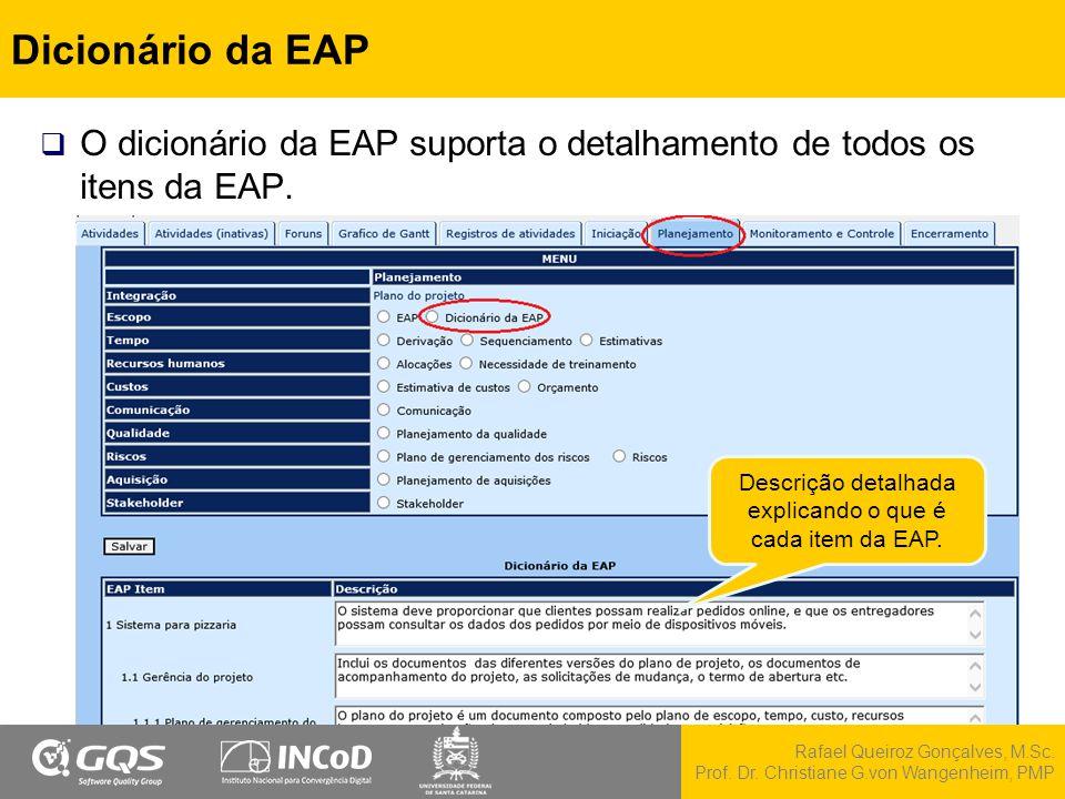 Rafael Queiroz Gonçalves, M.Sc. Prof. Dr. Christiane G.von Wangenheim, PMP Dicionário da EAP  O dicionário da EAP suporta o detalhamento de todos os