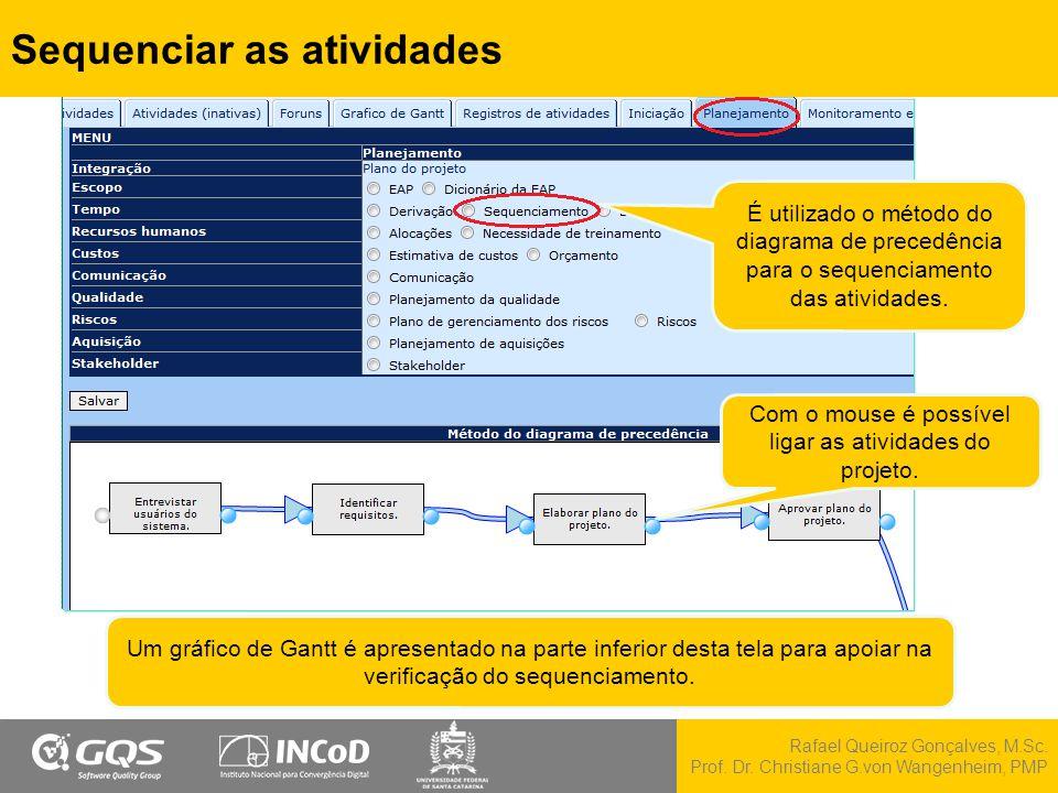 Rafael Queiroz Gonçalves, M.Sc. Prof. Dr. Christiane G.von Wangenheim, PMP Sequenciar as atividades É utilizado o método do diagrama de precedência pa
