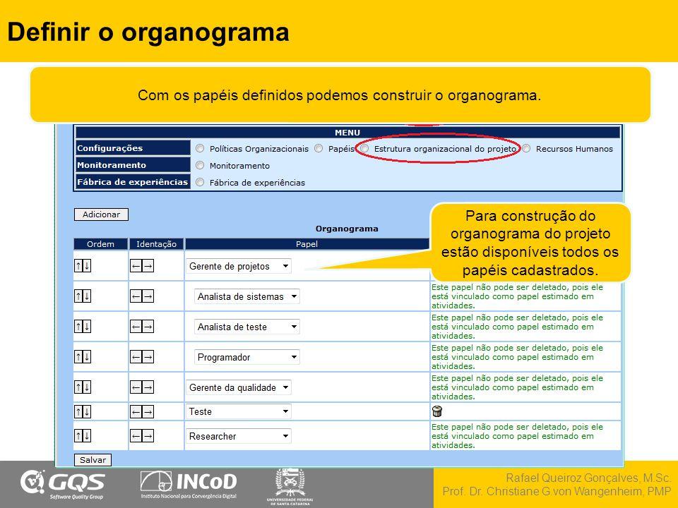 Rafael Queiroz Gonçalves, M.Sc. Prof. Dr. Christiane G.von Wangenheim, PMP Definir o organograma Para construção do organograma do projeto estão dispo