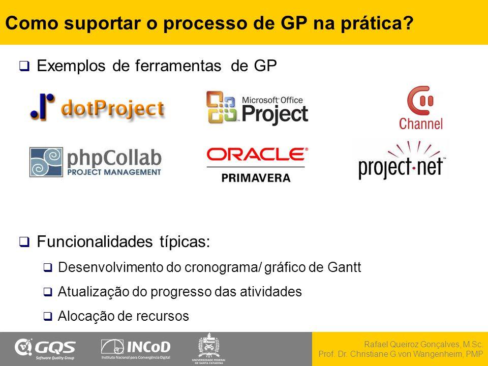 Rafael Queiroz Gonçalves, M.Sc. Prof. Dr. Christiane G.von Wangenheim, PMP Como suportar o processo de GP na prática?  Exemplos de ferramentas de GP