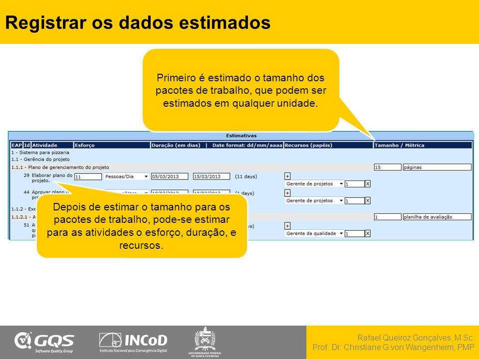 Rafael Queiroz Gonçalves, M.Sc. Prof. Dr. Christiane G.von Wangenheim, PMP Registrar os dados estimados Depois de estimar o tamanho para os pacotes de
