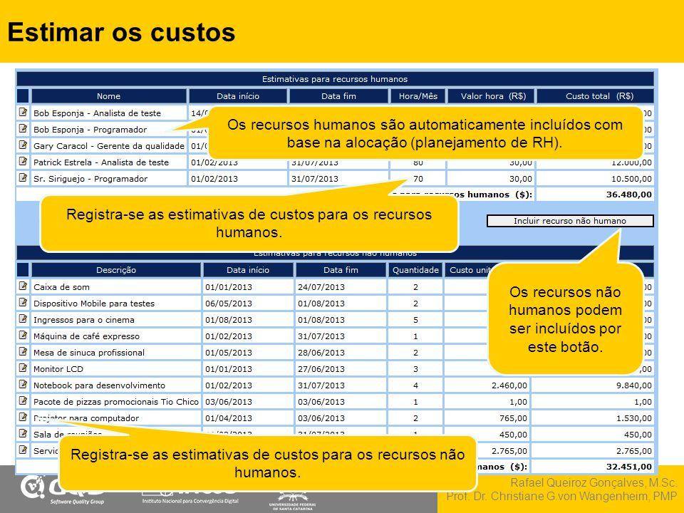 Rafael Queiroz Gonçalves, M.Sc. Prof. Dr. Christiane G.von Wangenheim, PMP Estimar os custos Registra-se as estimativas de custos para os recursos hum