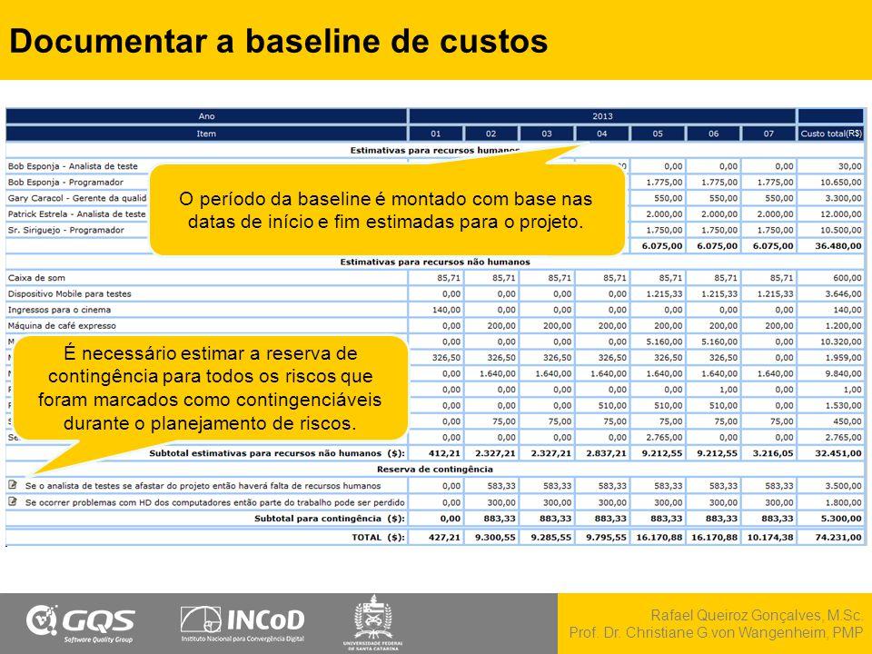 Rafael Queiroz Gonçalves, M.Sc. Prof. Dr. Christiane G.von Wangenheim, PMP Documentar a baseline de custos O período da baseline é montado com base na