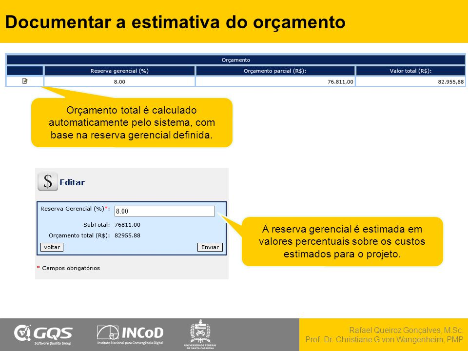 Rafael Queiroz Gonçalves, M.Sc. Prof. Dr. Christiane G.von Wangenheim, PMP Documentar a estimativa do orçamento Orçamento total é calculado automatica