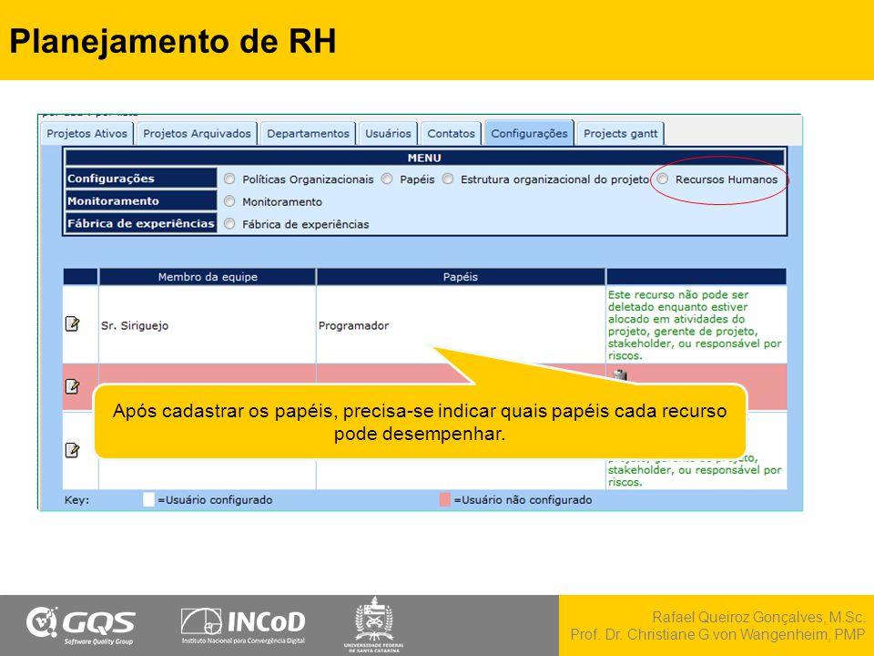 Rafael Queiroz Gonçalves, M.Sc. Prof. Dr. Christiane G.von Wangenheim, PMP Planejamento de RH Após cadastrar os papéis, precisa-se indicar quais papéi