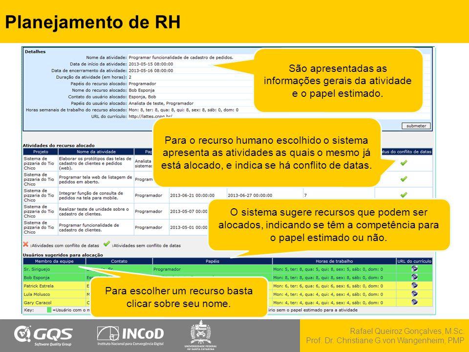 Rafael Queiroz Gonçalves, M.Sc. Prof. Dr. Christiane G.von Wangenheim, PMP Planejamento de RH São apresentadas as informações gerais da atividade e o