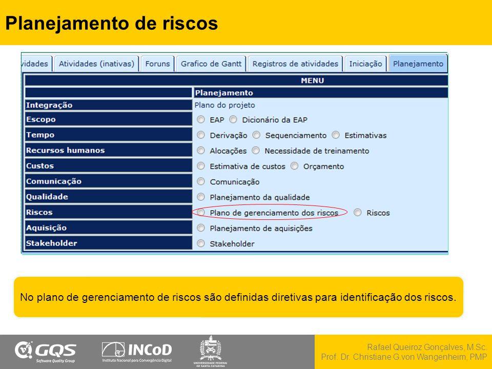 Rafael Queiroz Gonçalves, M.Sc. Prof. Dr. Christiane G.von Wangenheim, PMP Planejamento de riscos No plano de gerenciamento de riscos são definidas di
