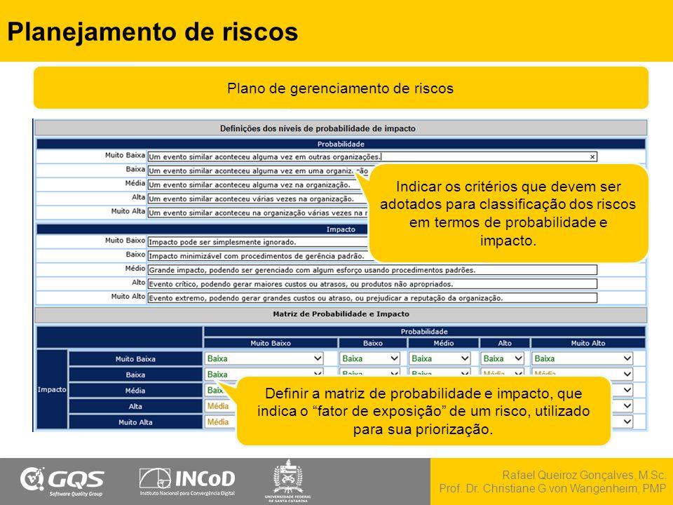 Rafael Queiroz Gonçalves, M.Sc. Prof. Dr. Christiane G.von Wangenheim, PMP Planejamento de riscos Indicar os critérios que devem ser adotados para cla