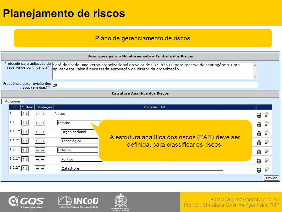 Rafael Queiroz Gonçalves, M.Sc. Prof. Dr. Christiane G.von Wangenheim, PMP Planejamento de riscos A estrutura analítica dos riscos (EAR) deve ser defi