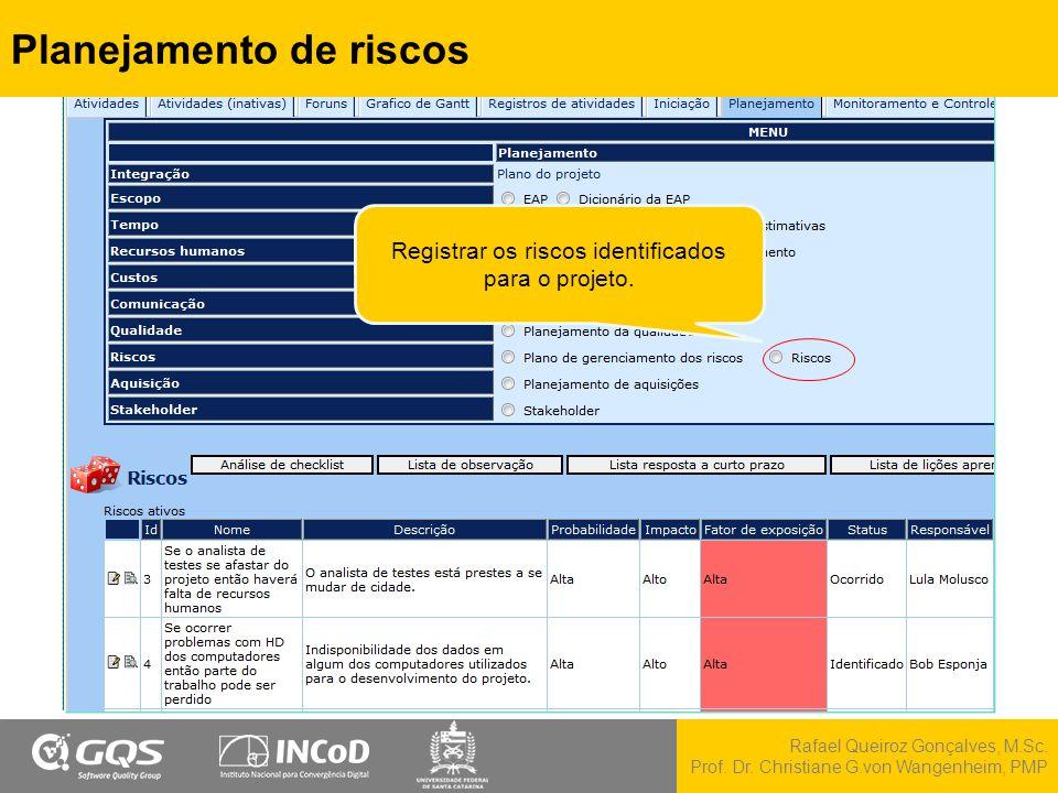 Rafael Queiroz Gonçalves, M.Sc. Prof. Dr. Christiane G.von Wangenheim, PMP Planejamento de riscos Registrar os riscos identificados para o projeto.