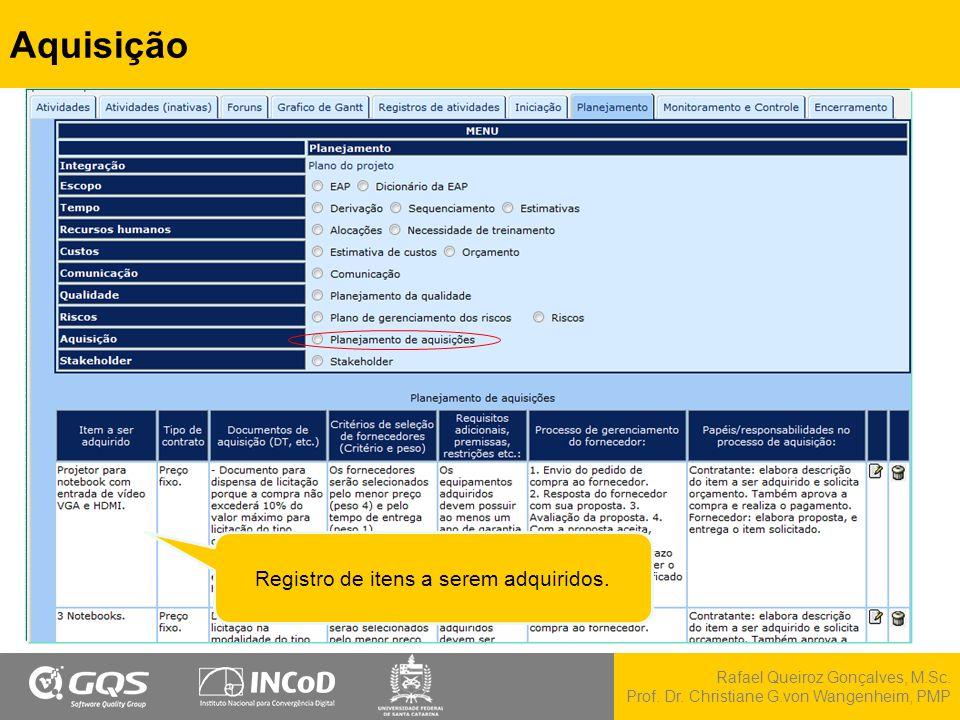 Rafael Queiroz Gonçalves, M.Sc. Prof. Dr. Christiane G.von Wangenheim, PMP Aquisição Registro de itens a serem adquiridos.