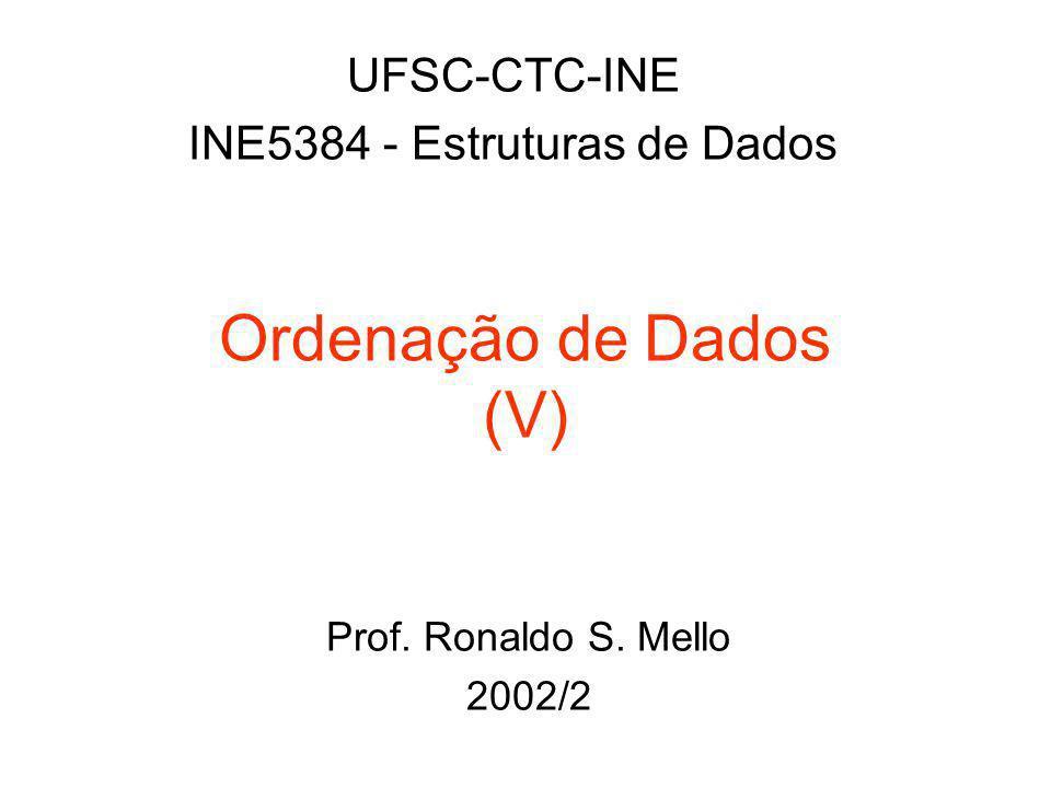 Ordenação de Dados (V) UFSC-CTC-INE INE5384 - Estruturas de Dados Prof. Ronaldo S. Mello 2002/2