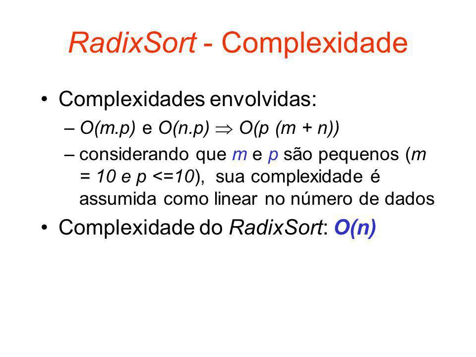 RadixSort - Complexidade Complexidades envolvidas: –O(m.p) e O(n.p)  O(p (m + n)) –considerando que m e p são pequenos (m = 10 e p <=10), sua complexidade é assumida como linear no número de dados Complexidade do RadixSort: O(n)