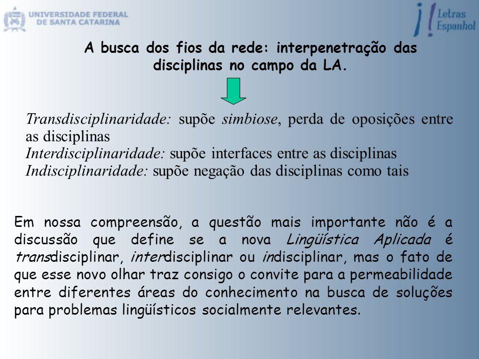 A busca dos fios da rede: interpenetração das disciplinas no campo da LA. Transdisciplinaridade: supõe simbiose, perda de oposições entre as disciplin