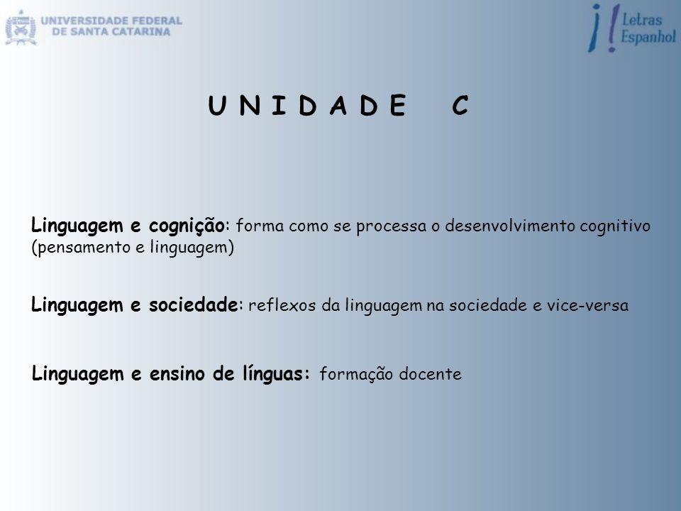 U N I D A D E C Linguagem e cognição: forma como se processa o desenvolvimento cognitivo (pensamento e linguagem) Linguagem e sociedade: reflexos da l