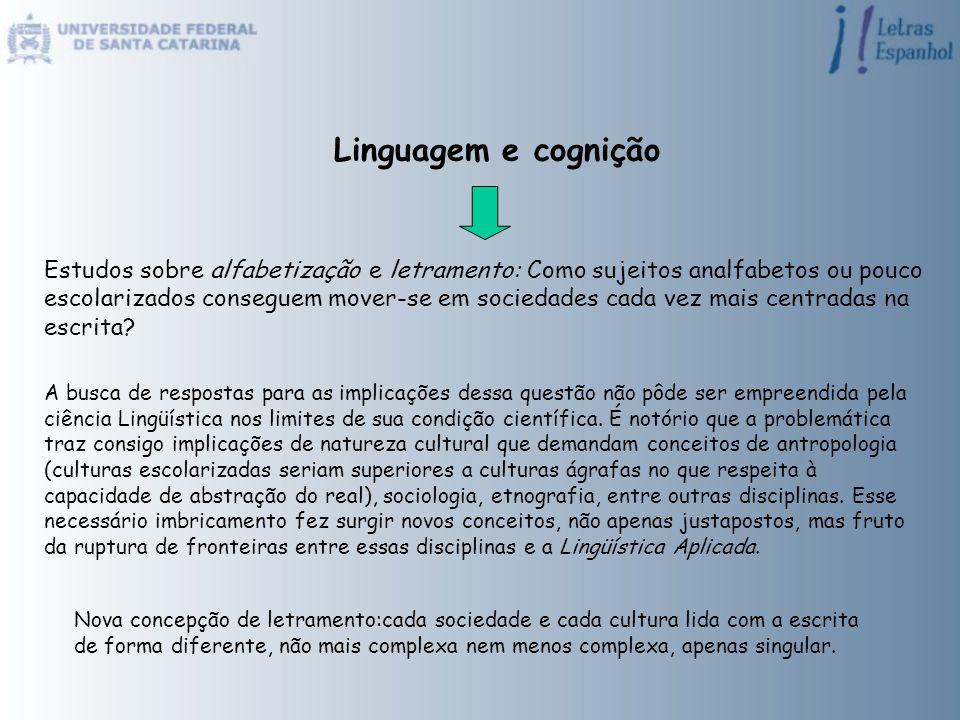 Linguagem e cognição Estudos sobre alfabetização e letramento: Como sujeitos analfabetos ou pouco escolarizados conseguem mover-se em sociedades cada