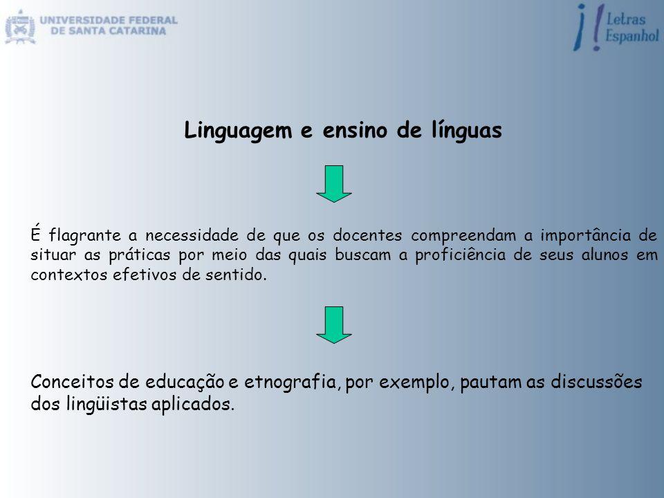 Linguagem e ensino de línguas É flagrante a necessidade de que os docentes compreendam a importância de situar as práticas por meio das quais buscam a