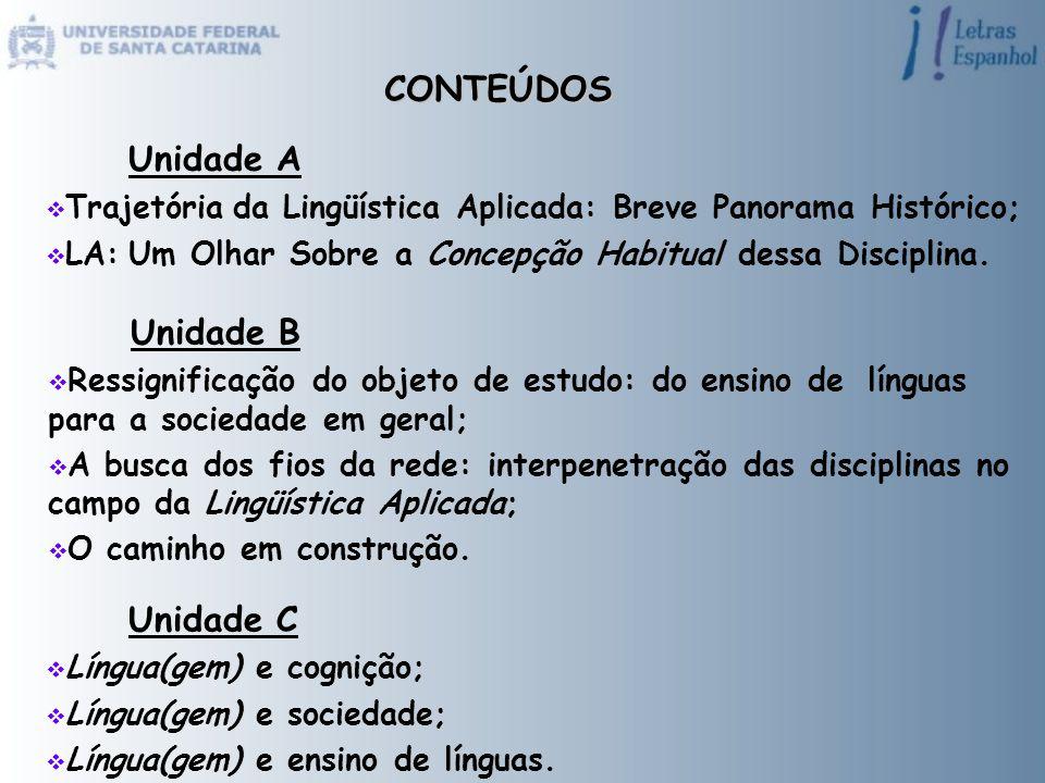 CONTEÚDOS Unidade A  Trajetória da Lingüística Aplicada: Breve Panorama Histórico;  LA: Um Olhar Sobre a Concepção Habitual dessa Disciplina. Unidad