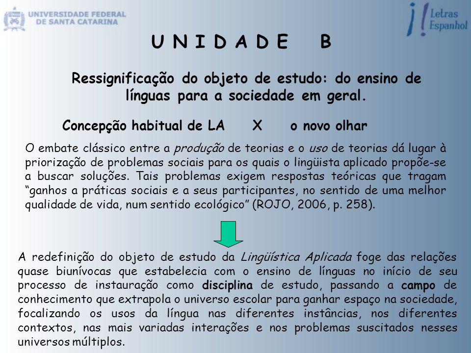 Ressignificação do objeto de estudo: do ensino de línguas para a sociedade em geral. Concepção habitual de LA X o novo olhar O embate clássico entre a