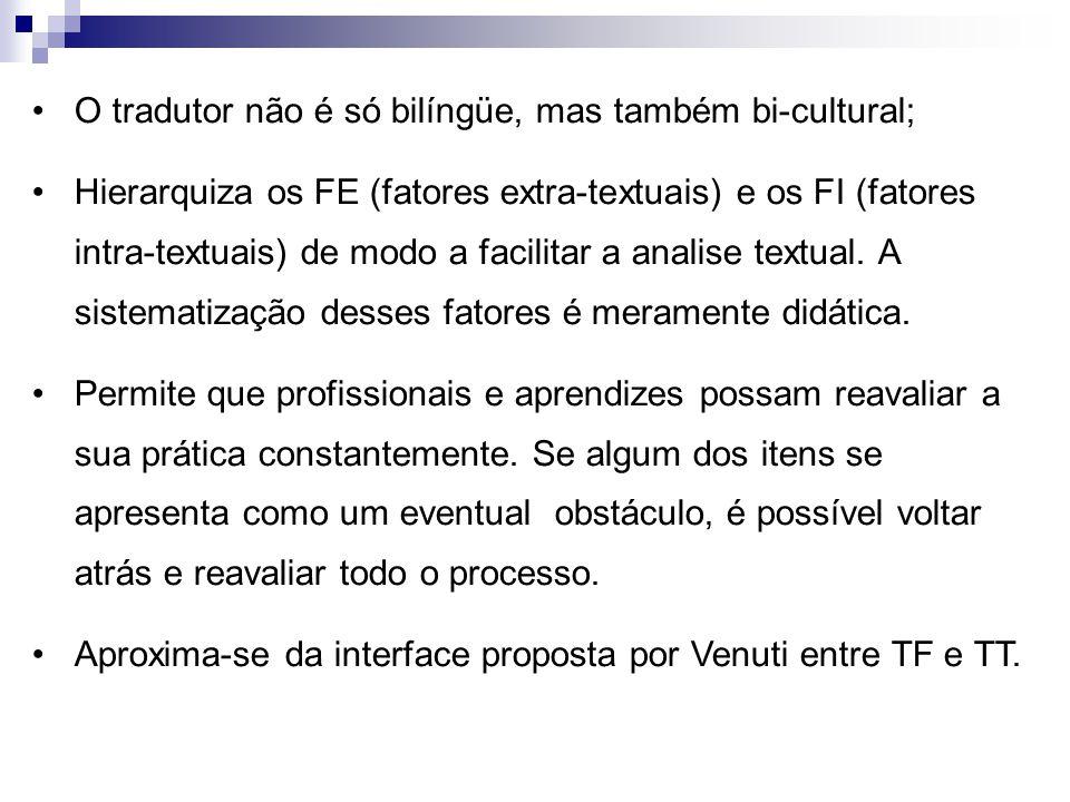 O tradutor não é só bilíngüe, mas também bi-cultural; Hierarquiza os FE (fatores extra-textuais) e os FI (fatores intra-textuais) de modo a facilitar