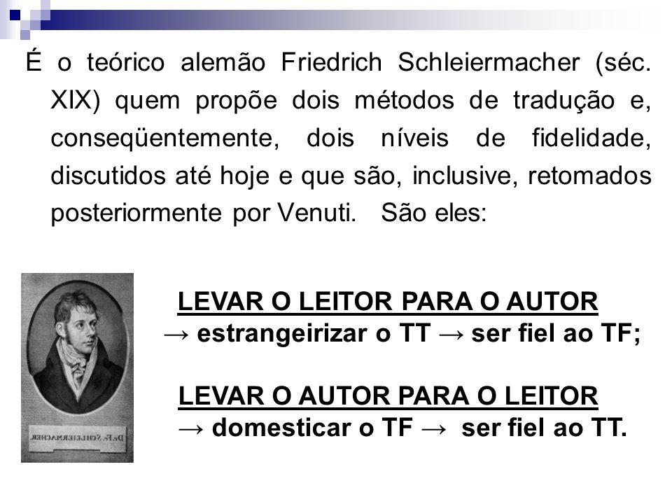 É o teórico alemão Friedrich Schleiermacher (séc. XIX) quem propõe dois métodos de tradução e, conseqüentemente, dois níveis de fidelidade, discutidos