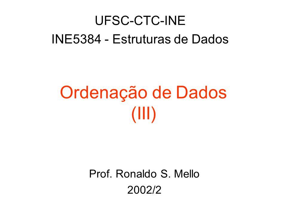 Ordenação de Dados (III) UFSC-CTC-INE INE5384 - Estruturas de Dados Prof. Ronaldo S. Mello 2002/2