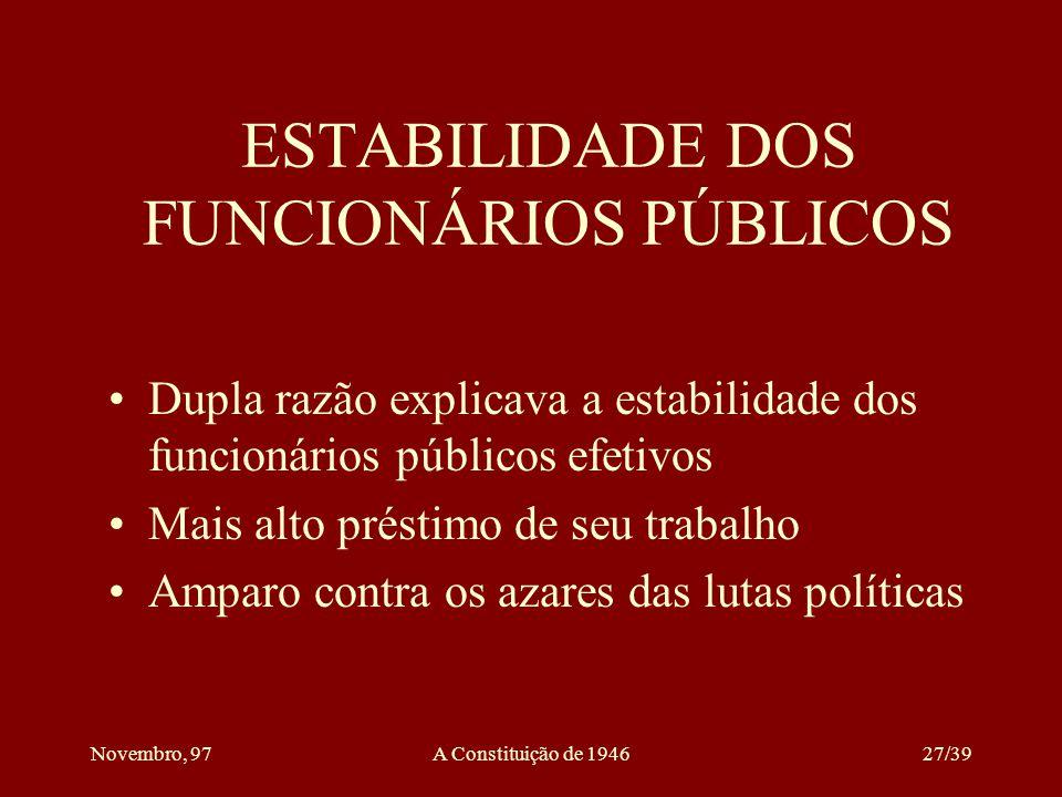 Novembro, 97A Constituição de 194626/39 DO SUFRÁGIO O sufrágio é universal e direto O voto é secreto Fica assegurada a representação proporcional dos partidos políticos nacionais