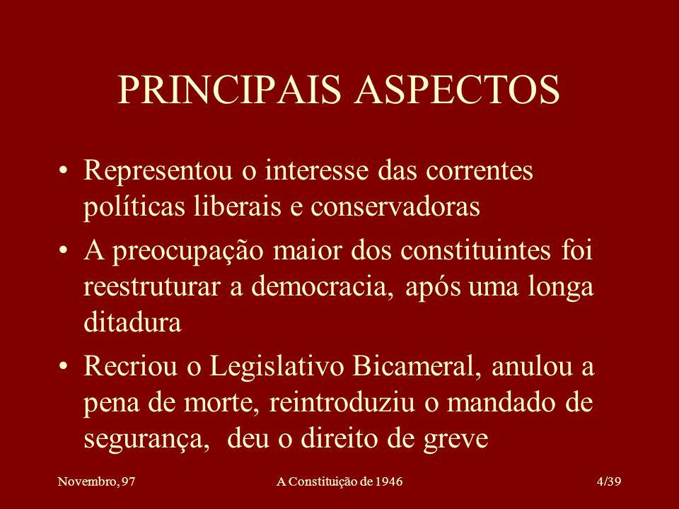 Novembro, 97A Constituição de 194634/39 INDEPENDÊNCIA E HARMONIA DOS PODERES É a espinha dorsal do presidencialismo Não se trata apenas de separação de poderes ou distribuição de funções, mas de independência Deve haver harmonia entre os três poderes