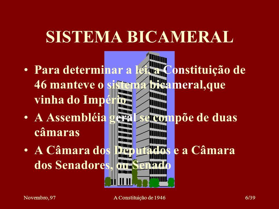 Novembro, 97A Constituição de 19466/39 SISTEMA BICAMERAL Para determinar a lei, a Constituição de 46 manteve o sistema bicameral,que vinha do Império A Assembléia geral se compõe de duas câmaras A Câmara dos Deputados e a Câmara dos Senadores, ou Senado