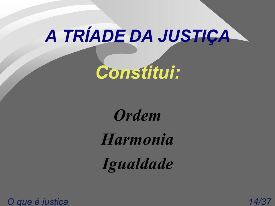 14/37O que é justiça A TRÍADE DA JUSTIÇA Constitui: Ordem Harmonia Igualdade