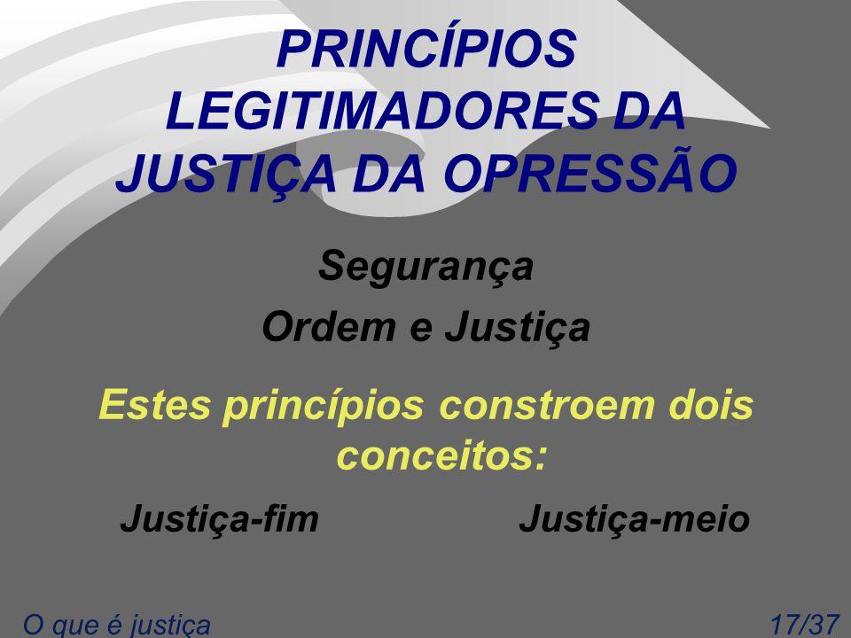 17/37O que é justiça PRINCÍPIOS LEGITIMADORES DA JUSTIÇA DA OPRESSÃO Segurança Ordem e Justiça Estes princípios constroem dois conceitos: Justiça-fim