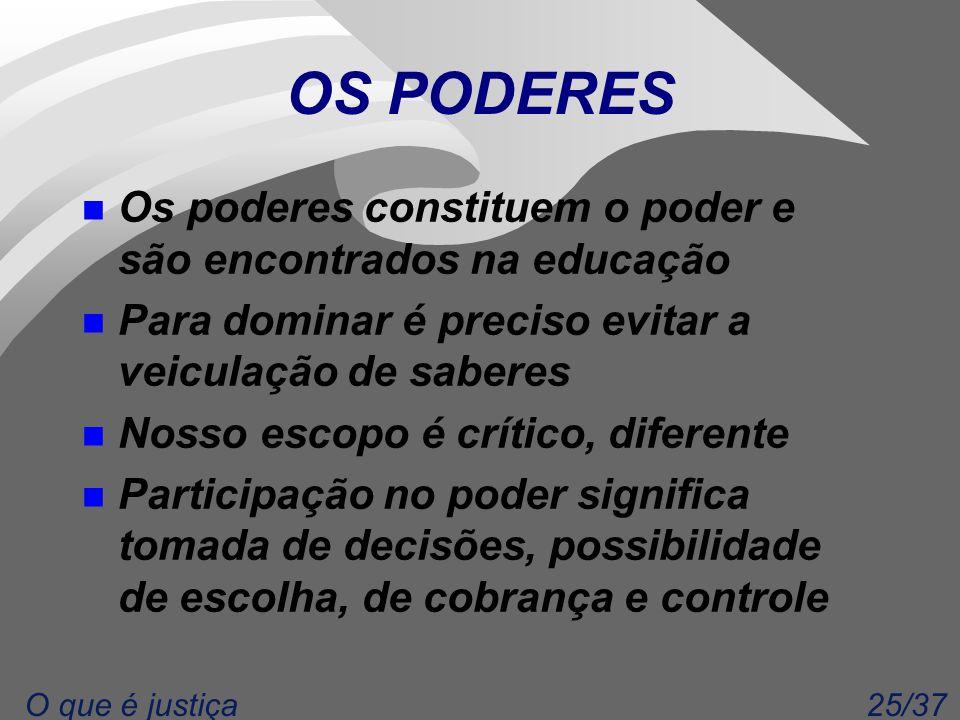25/37O que é justiça OS PODERES n Os poderes constituem o poder e são encontrados na educação n Para dominar é preciso evitar a veiculação de saberes