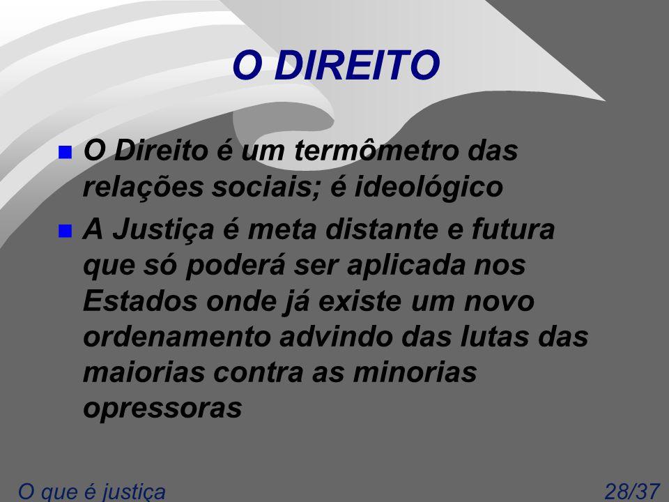 28/37O que é justiça O DIREITO n O Direito é um termômetro das relações sociais; é ideológico n A Justiça é meta distante e futura que só poderá ser a