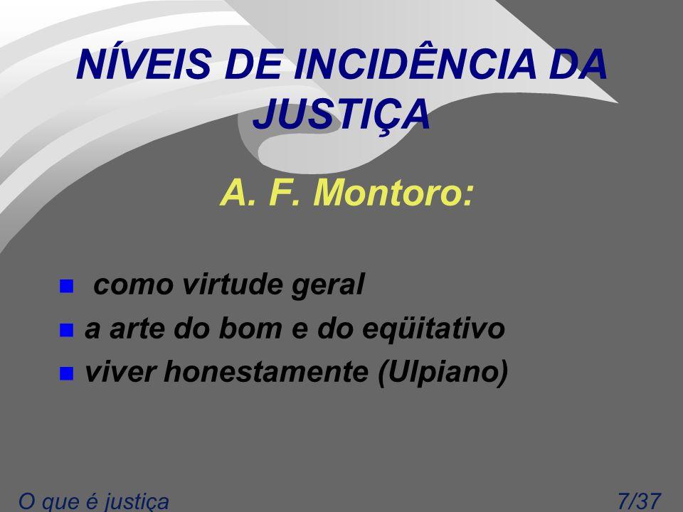 7/37O que é justiça NÍVEIS DE INCIDÊNCIA DA JUSTIÇA A.