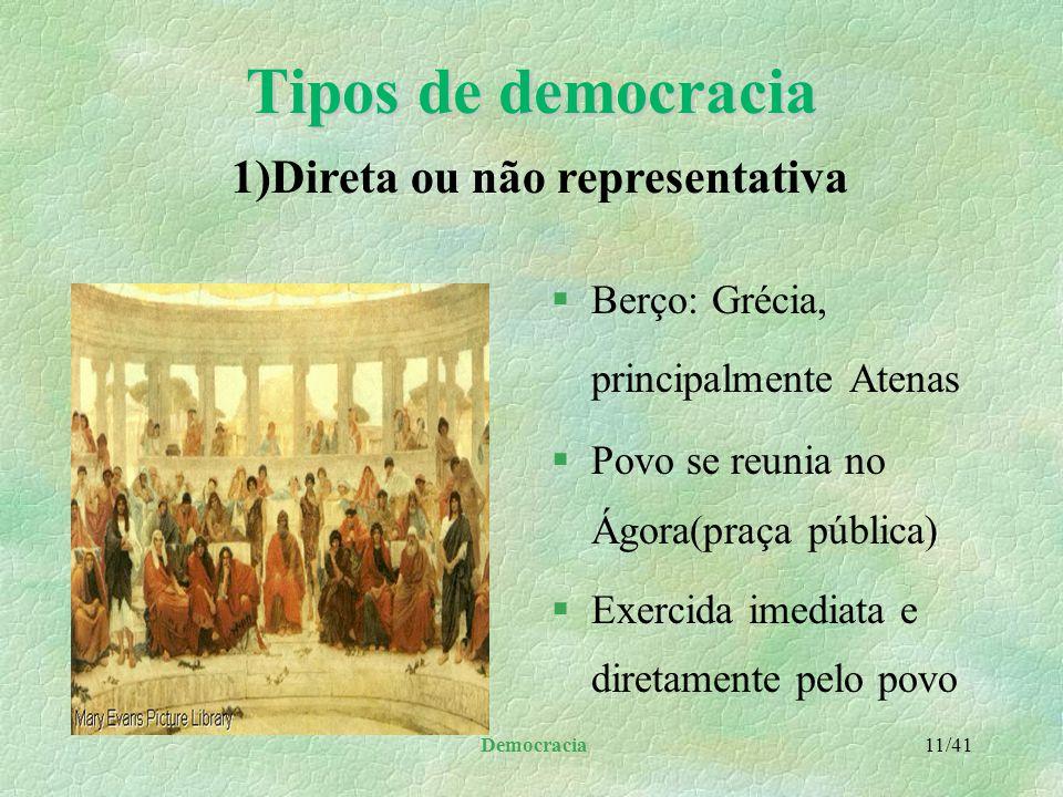 Democracia 10/41 Princípios que a influenciaram l a atmosfera de confiança naquilo que o homem tem de melhor: o estimula a superar a si mesmo é a forç