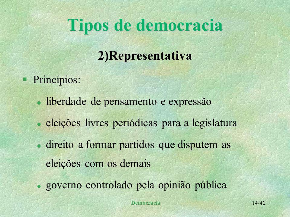 """Democracia 13/41 §Representantes: l eleitos pelo povo l permanecem no cargo por um breve período de tempo l gozam da confiança popular §Homem """"acessor"""