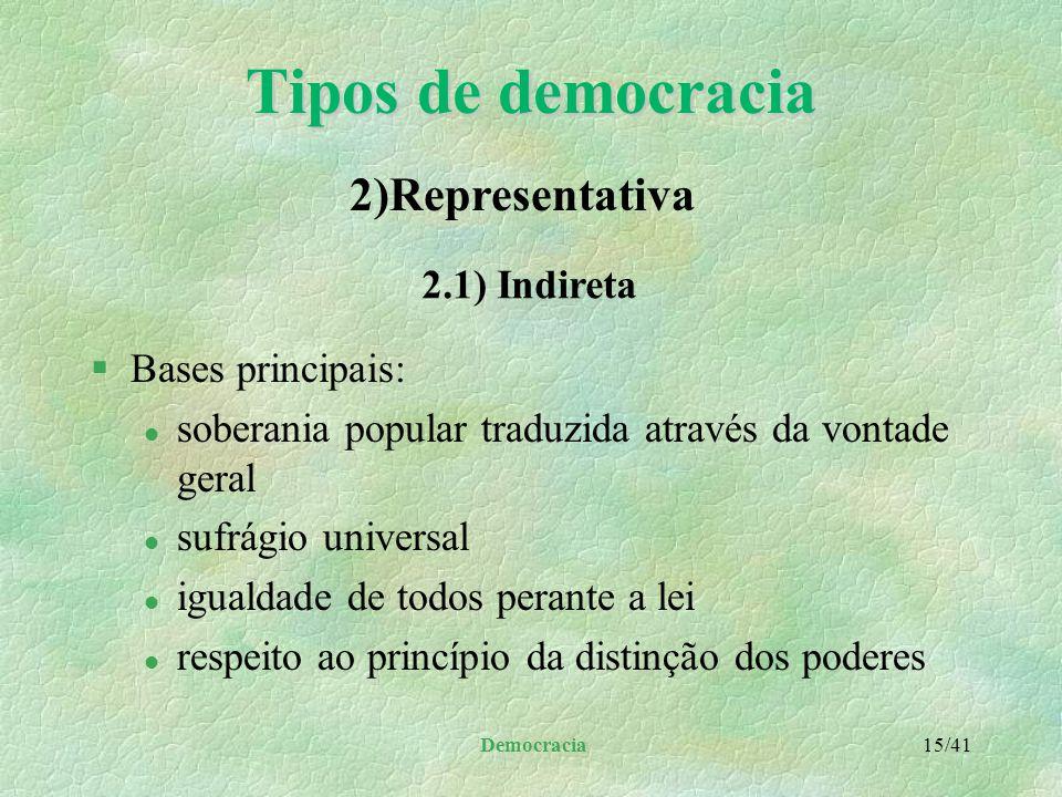 Democracia 14/41 Tipos de democracia §Princípios: l liberdade de pensamento e expressão l eleições livres periódicas para a legislatura l direito a fo