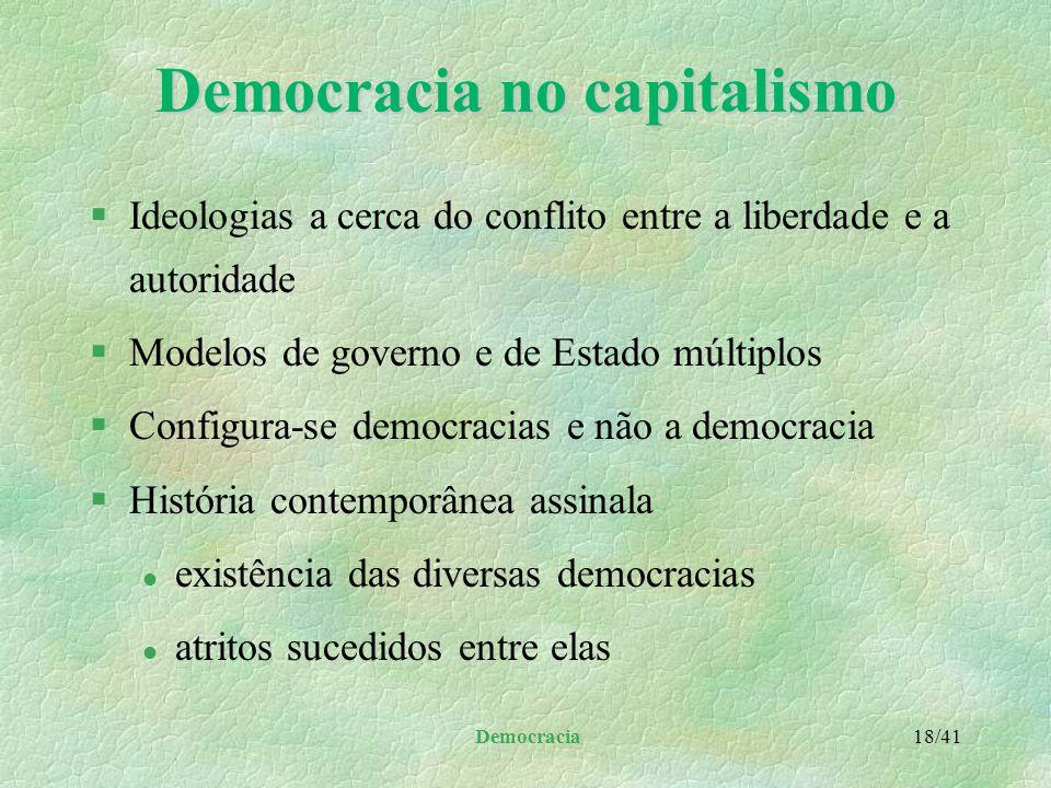 Democracia 17/41 Tipos de democracia l alteração da forma clássica de democracia representativa para aproximá-la da direta l alienação política parcia