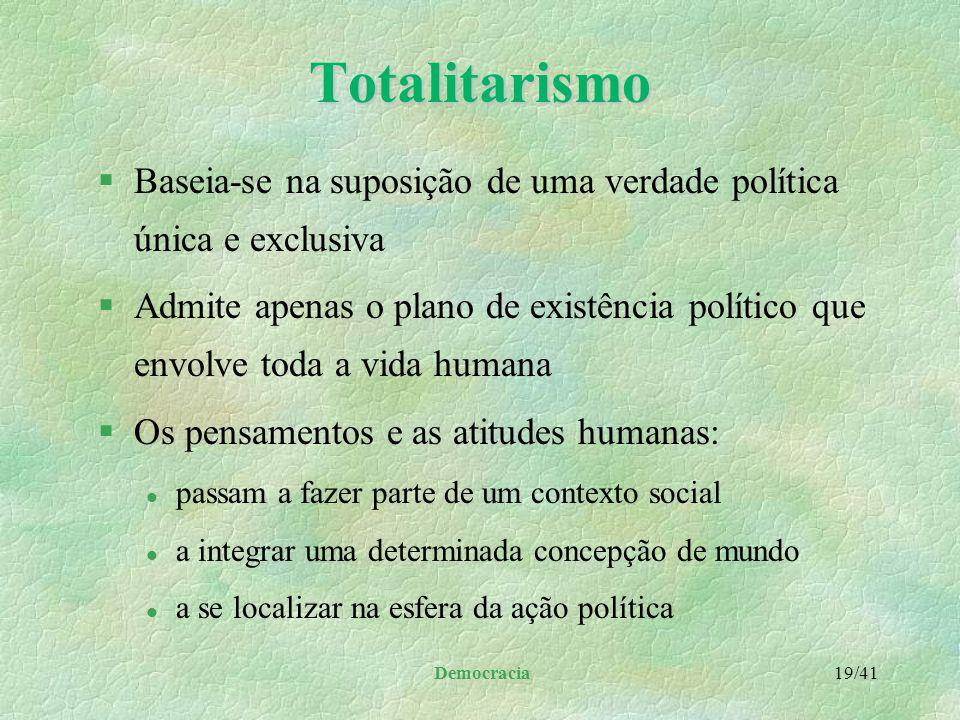 Democracia 18/41 Democracia no capitalismo §Ideologias a cerca do conflito entre a liberdade e a autoridade §Modelos de governo e de Estado múltiplos