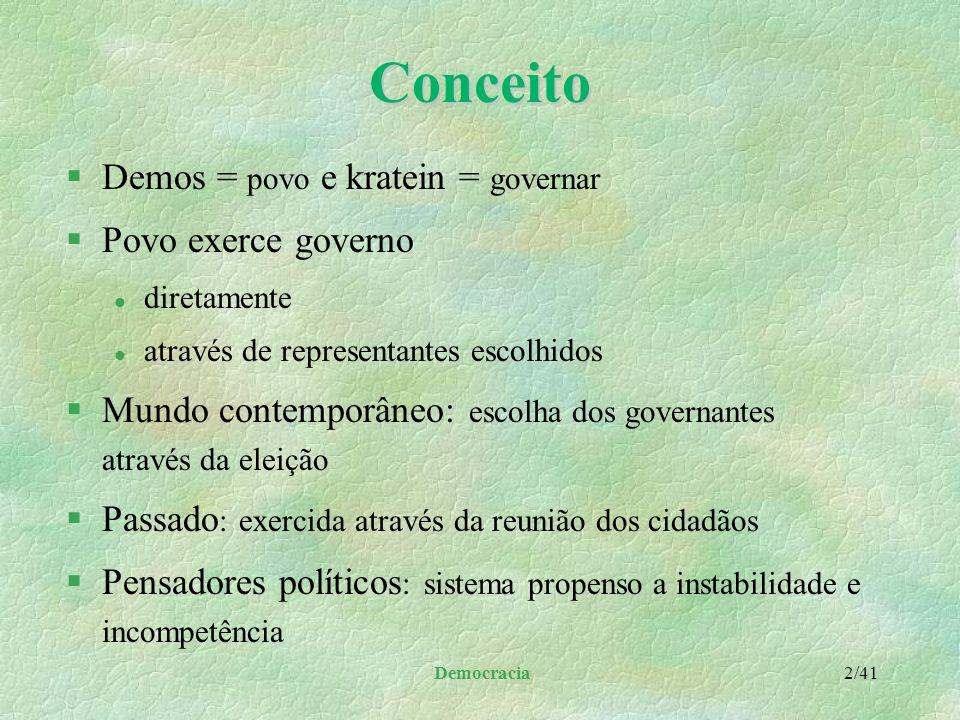 Democracia Copyright © 1999 LINJUR Proibida reprodução e alteração sem consentimento por escrito do autor. Uso comercial necessita de prévia autorizaç